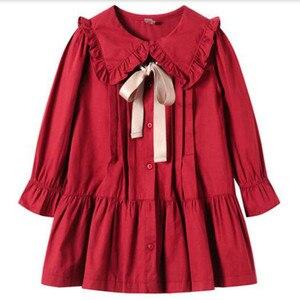 Image 3 - Girls Dress 2020 Fall New Children Cotton Dress Baby Princess Dress Cotton Toddler Dresses for Girls Temperament Bow,#5314