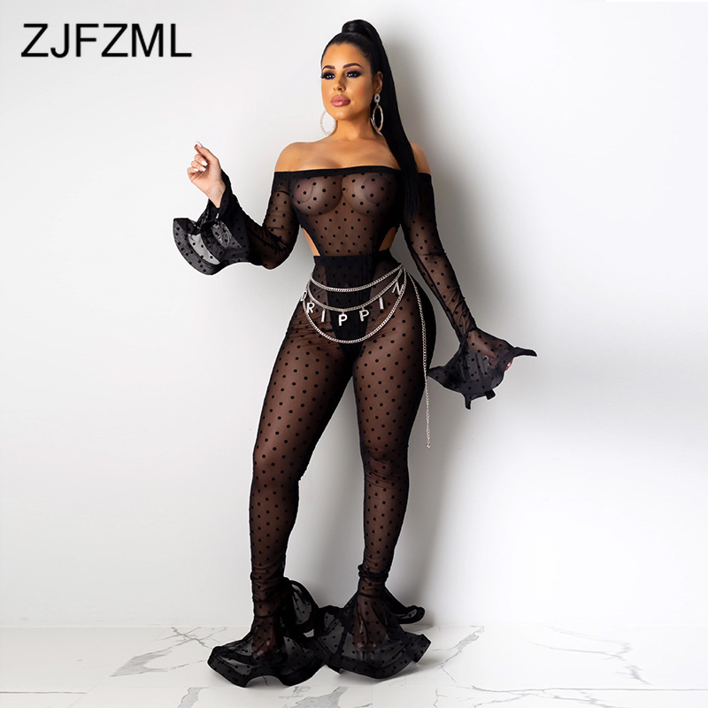 Off Shoulder Floral Print Sexy Bandage Jumpsuit Women Backless Flare Sleeve Black Flare Romper Ladies Transparent Mesh Bodysuits