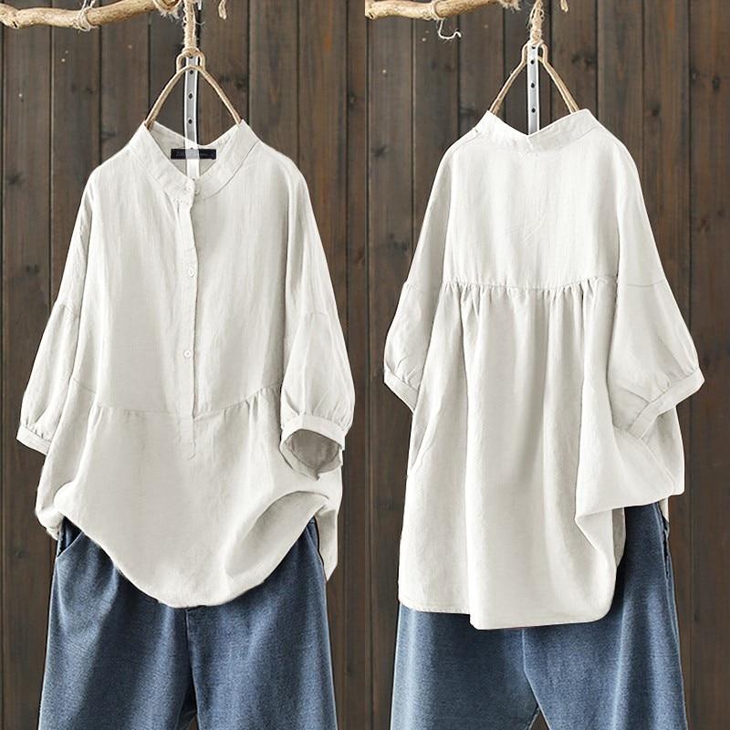 2021 ZANZEA Frauen Baumwolle Bluse Sommer Shirts Elegante Beiläufige Halbe Hülse Tops Weibliche Taste Blusas Chemise Solide Plus Größe Tunika
