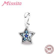 MISSITA 925 Sterling Silver Blue Crystal Star Pendant fit Pandora Women Bracelets Necklace for Jewelry making Accessories Gift