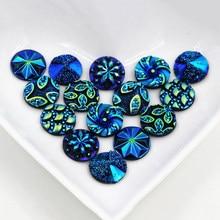 Nova moda 40 pçs 12mm mix azul cores estilo flor plana volta resina cabochons cameo