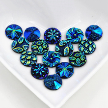 цены New Fashion 100pcs 12mm Mix Blue Colors Flower Style Flat back Resin Cabochons Cameo  H1-31