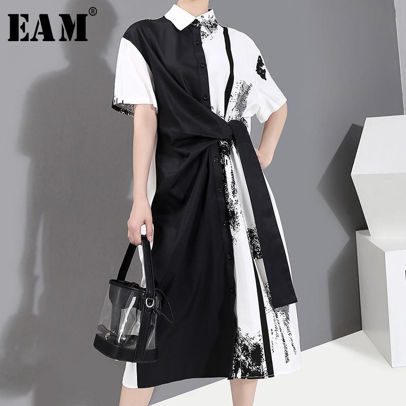 [EAM] Women Black Pattern Printed Knot Big Size Shirt Dress New Lapel Short Sleeve Loose Fit Fashion Spring Summer 2020 1Y136