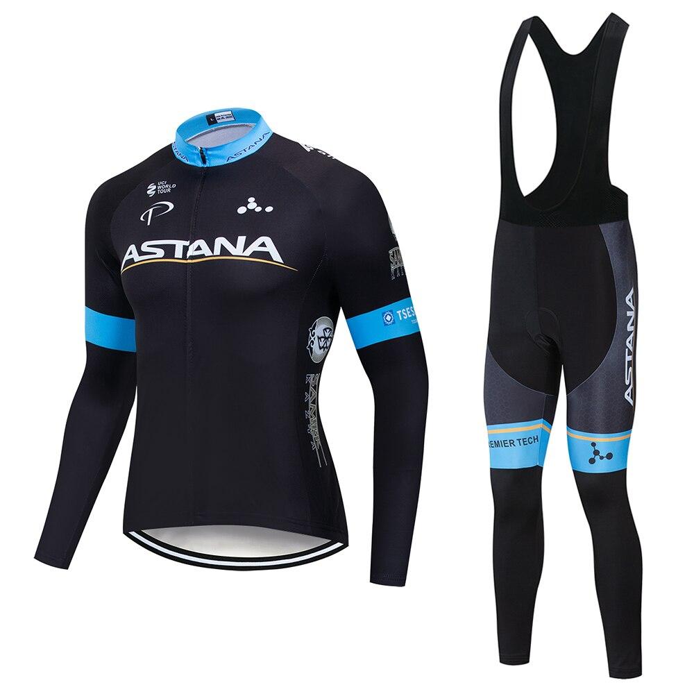 2019 neue astana team Radfahren Jersey Anzug 19D gel Fahrrad Lange Jersey herren Ropa Ciclismo Frühling Fahrrad kleidung Radfahren tragen