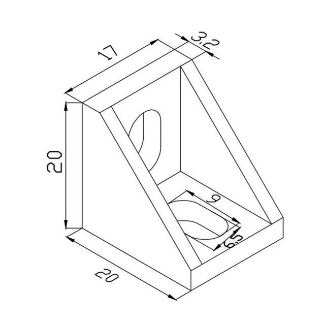 En Alliage daluminium Support de Coin En Aluminium Profil CNC Fraiseuse 90 Degrés Fixation Pièce De Raccordement Épaississement Code Dangle