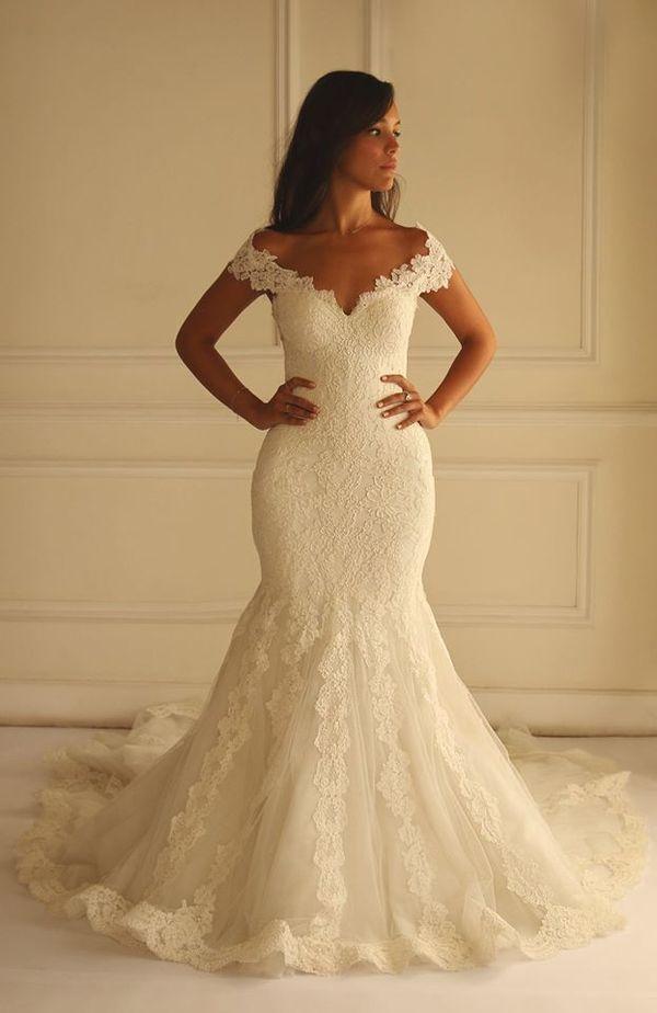 2016 Elegant Sleeveless Wedding Dress Lace Mermaid Floor-length Bridal Gowns