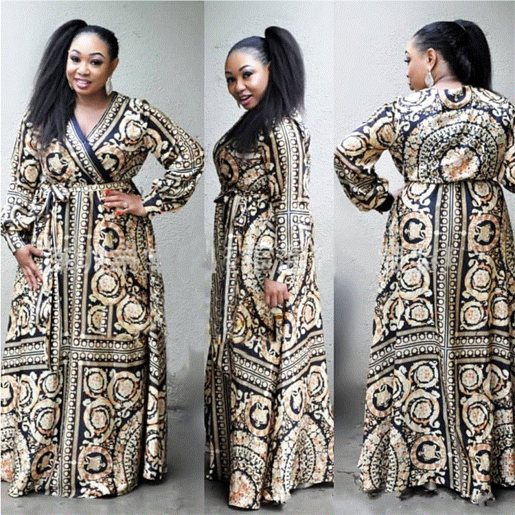 African Dashiki Dress Print Ethnic Bazin Elegant Abaya Belt Long Maxi Robe Gowns Sexy Lady Rich Evening Party Traditional