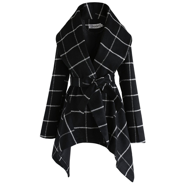 FY VANLAND Autumn Winter Women Medium Long Sleeve Woolen Coats Fashion Vintage Loose Plaid Belted Jackets Women's Windbreaker 4