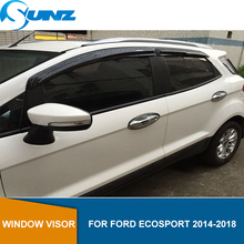 Car Window Rain Protector For FORD ECOSPORT 2014 2015 2016 2017 2018 Black Window Shield Cover Awnings Shelters Guards SUNZ car styling window visors for ford foucs 3 sedan hatchback 2012 2013 2014 2015 sun rain shield stickers awnings shelter