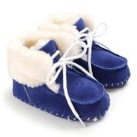 Winter Faux pelz Baby Schuhe Mädchen Jungen Warme Anti-Slip Casual Warmen Turnschuhe Kleinkind Weiche Sohlen Wanderschuhe