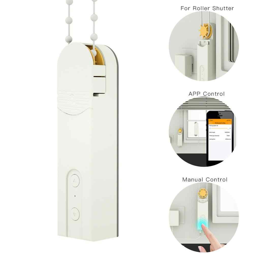 Умный дом Bluetooth APP управление моторизованные цепные роликовые шторы затвор привод мотор питание от солнечной панели и зарядного устройства