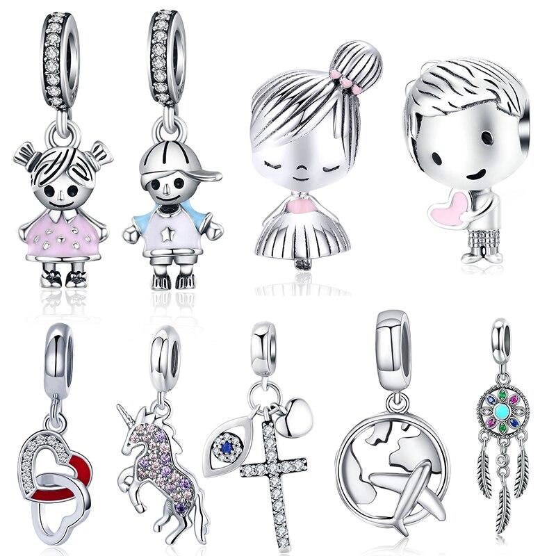 WOSTU Dangle Charm Fit Original DIY Bracelet Pendant 100% 925 Sterling Silver Boys Girls Beads For Women Fashion Jewelry Gift