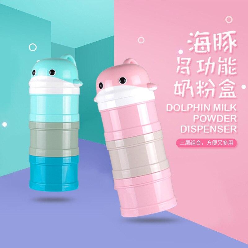 Baby Children Milk Box Three Layer Infant Portable Cartoon Layered Large-Volume Nursing Milk Powder Creative Storage Tank