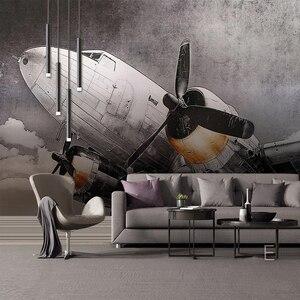 Image 2 - Papier peint Mural personnalisé Style européen nostalgique avion fresque salon TV canapé Restaurant fond créatif décor Mural 3D
