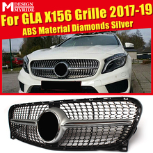 X156 Grille Grill Diamonds Grills For MercedesMB GLA Class GLA180 GLA200 GLA250 Look Without Sign ABS Silver 17-19