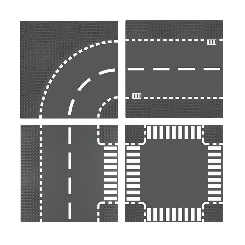 Crossroad blocos de construção placa estrada curva bloco compatível legoing brinquedos placas base brinquedos em linha reta para crianças