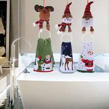 New Christmas Hanging Pendant Elk Santa Claus Snowman Towel Ring Party Wall Decoration Accessories