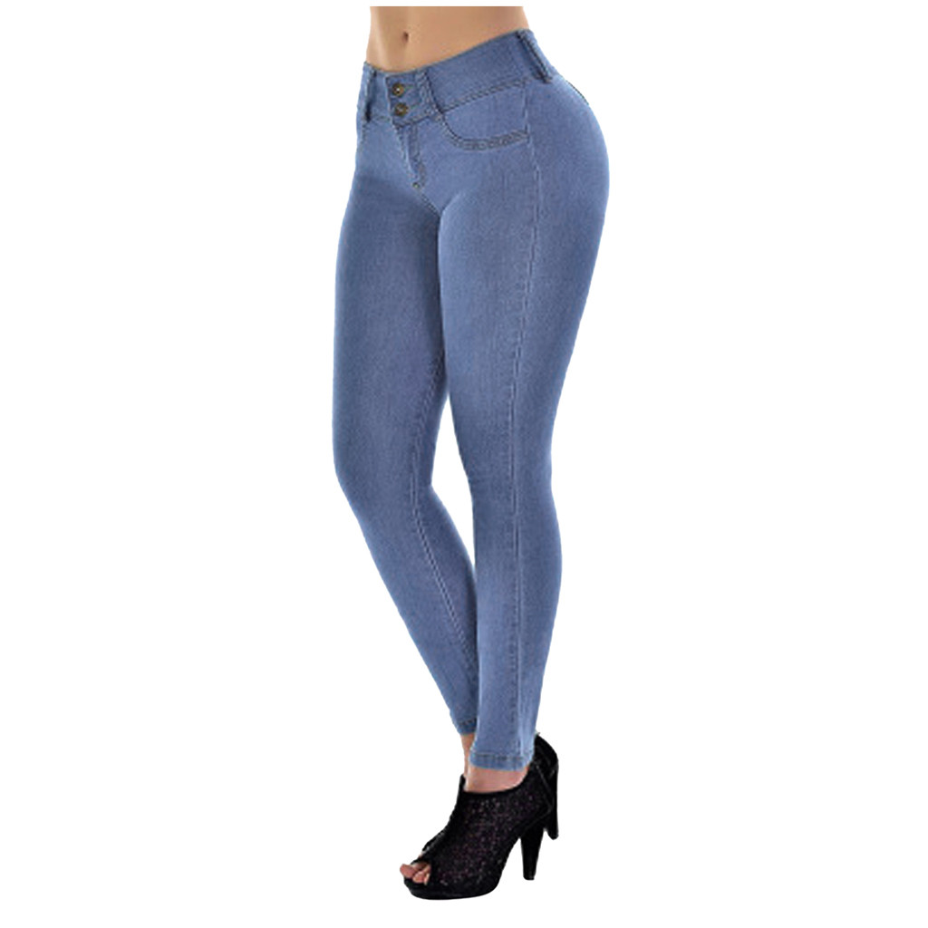 Fashion Women Large Size Casual Jeans Skinny Autumn And Winter Stretch Slim Hips Peach Jeans Special Attractive Jeans