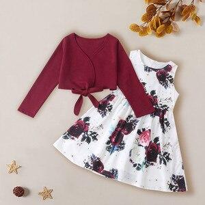 (От 4 до 9 лет) модный костюм для девочки простой однотонный костюм блузка + платье с цветочным принтом красный горячая Распродажа Осенняя дет...