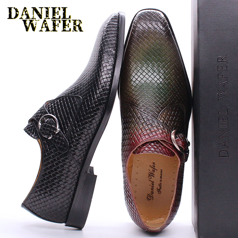 Luxury Men Loafers Shoes Slip On Monk Strap Mix Color Black Men Casual Shoes Dress Office Business Wedding Genuine Leather Shoes