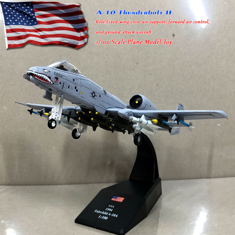 WLTK 1/100 Scale A-10 Thunderbolt II Ground-attack Aircraft 23rd TFW Flying Tigers Diecast Metal Fighter Model Toy For Gift