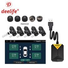 Deelife 안드로이드 TPMS 자동차 라디오 DVD 플레이어 타이어 압력 모니터링 시스템 예비 타이어 내부 외부 센서 USB TMPS
