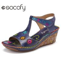 SOCOFY Women Leather Bohemia Style Sandals Shoes Hollow Flower Pattern Open Toe Casual Comfy Wedge Casual Outdoor Sandals 2020