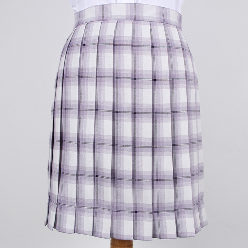 School Dresses Cute Light Purple White Plaid Pleated Skirt High Quality JK Uniform Skirt Students Anime Sailor Suit Short Skirts