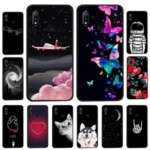 Black Soft Silicone Case For Oppo F11 Pro A3s A33 A37 A57 A5 A59 Find 9 A7 A71 A79 A83 F3 F7 F9 K1 Case Cover Space Cat Flowers(China)