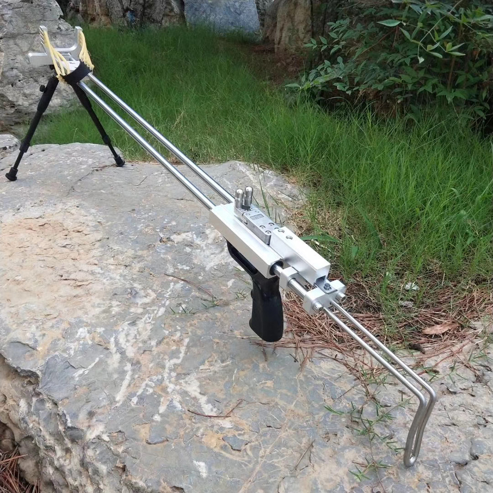 Silver Wolf Rifle Slingshot Hunting Catapult Powerful Stainless Slingshot For Outdoor Hunting Shooting Double Safety Device CNC