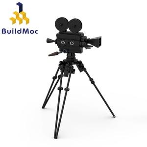 BulidMOC City Building Blocks Old Fashioned Movie Camera Laptop Briefcase Phone Camera Chair Bricks Toy Parts C331