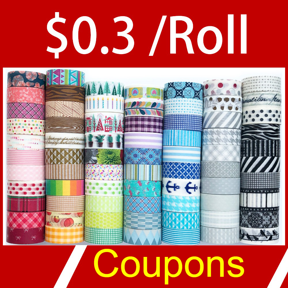 Many Coupon Washi Tape,$0.3 USD/Roll. Many Patterns For Select.Washi Tape,watercolor,on Sale Price,HOT Selling Set
