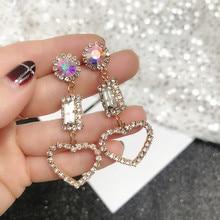 2019 New Zircon Crystal Love Heart Earrings Simple Personality Long Dangle