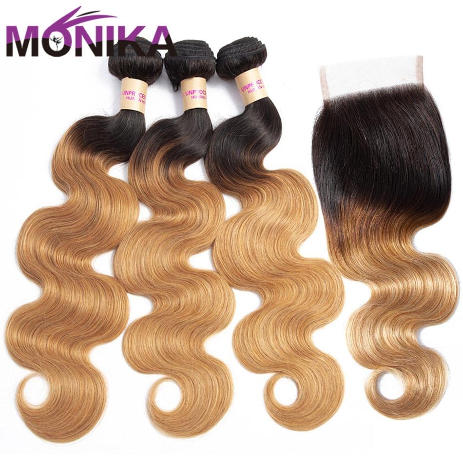 Monika Body Wave Bundles With Closure Malaysian Human Hair Bundles With Closure Non Remy Pre-colored Blonde Bundles With Closure