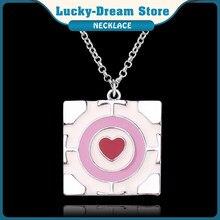 Jogo com colar 3d portal2 esmalte coração pingente portal 2 companheiro colar cubo senhoras moda jóias