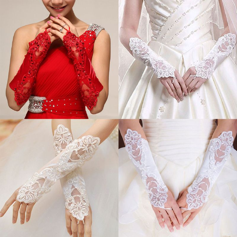 1Pair Women Bridal Long Gloves Opera Fingerless Embroidery Lace Glitter Sequins Solid Color Elbow Length Mittens Hook Finger