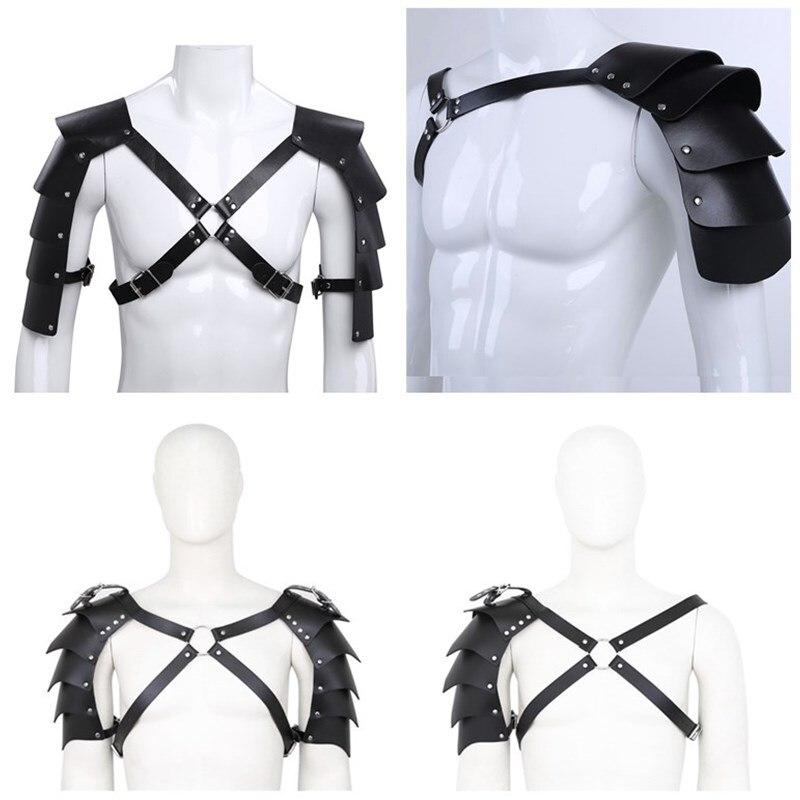 Fetish Gay Men Harness Sexy Leather Punk Gothic Adjustable Body Harness Belt Shoulder Strap Rave Costumes For BDSM Bondage Gay