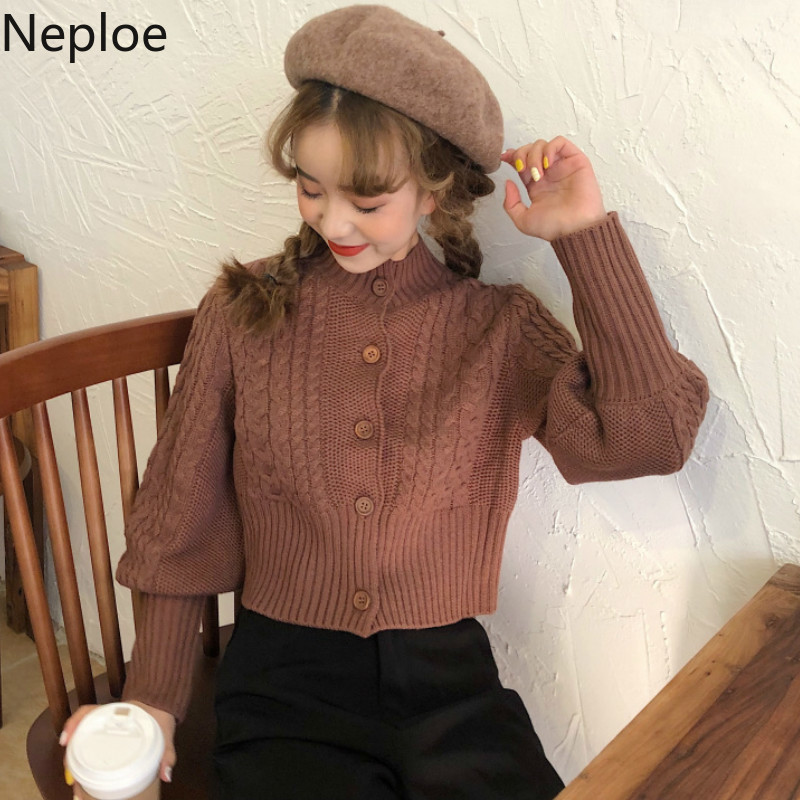 Neploe Sweaters Autumn Cardigans Lantern-Sleeve Slim-Fit Temperament Retro Korean New