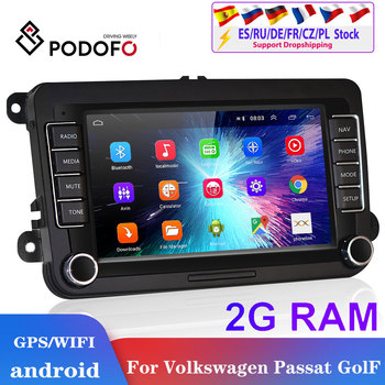 Podofo 2din android car radio for Volkswagen Car Multimedia player 2 din autoradio 2din For VW/Golf/Passat/SEAT/Skoda/Octavia image