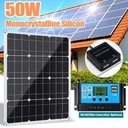 50W Panel słoneczny podwójne wyjście USB ogniwa słoneczne polikrystaliczny Panel słoneczny z kontrolerem 10/20/30/40/50A do ładowarki samochodowej łodzi RV