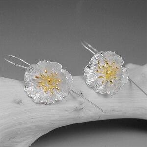 Image 2 - INATURE 925 en argent Sterling grande fleur de pavot boucles doreilles goutte pour les femmes bijoux de mode cadeau