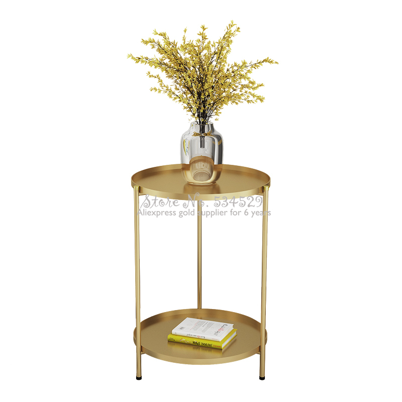 Foldable Table Metal Coffee Table Round Table Living Room Side Table  Detachable Tray Multi-use Home Furniture Storage Rack