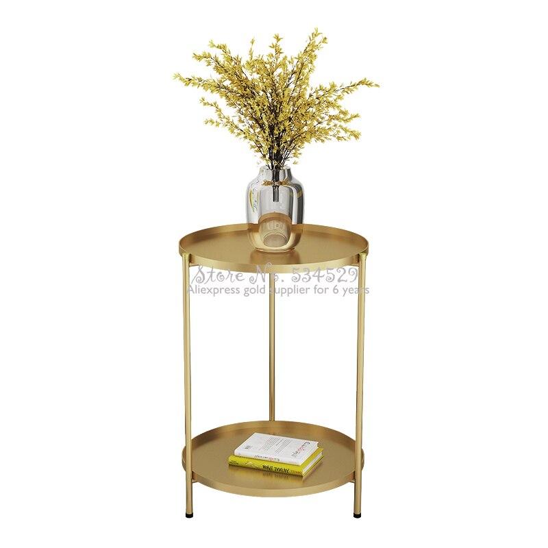 Mesa plegable mesa de centro de Metal mesa redonda sala de estar mesa auxiliar bandeja extraíble Multi-uso muebles para el hogar estante de almacenamiento