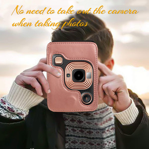 Image 2 - Retro Soft PU Leather Cover Mini Camera Case Bag for Fuji Camera with Shoulder Strap Camera CaseFor Fujifilm Instax Mini LiPlay
