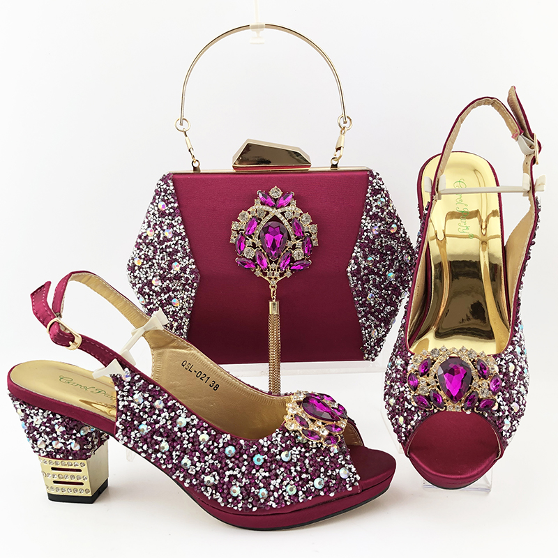 Nigerian Woman Sandals Shoes With Purse Set Italian Mature High Heels Shoes And Bag Set Pink High Quality For Wedding Party