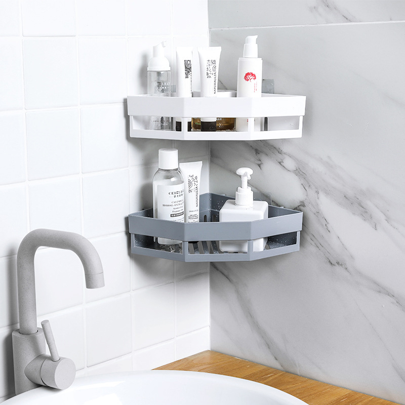 Bathroom Shelf Adhesive Storage Rack Corner Holder Shower Gel Shampoo Basket Hot image