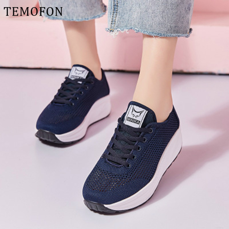 TEMOFON 2020 womens platform sneakers casual shoes women vulcanized shoes breathable wedge sneakers footwear basket femme HVT854