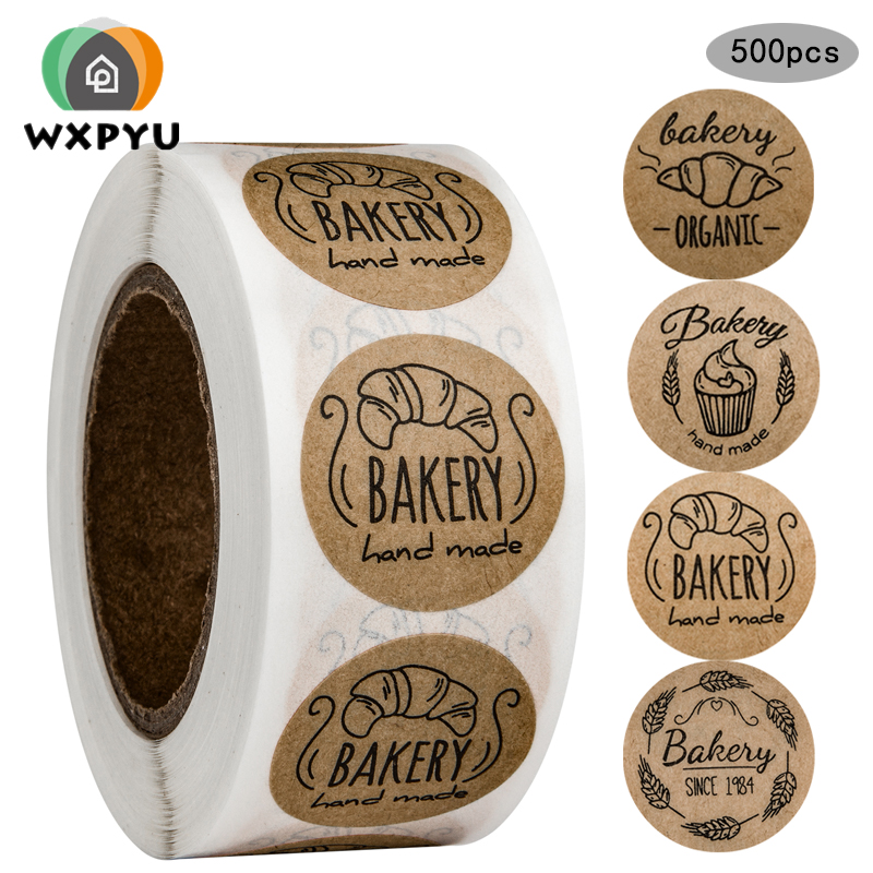 """Brown/""""Hand Made /"""" Stickers Circle Labels Tags Kraft Paper 500pcs//Roll"""