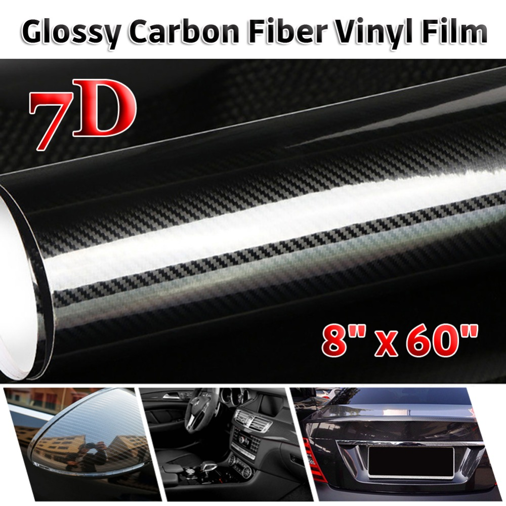 Автомобильная наклейка из углеродного волокна, 50 см х 152 см, 6/7D, глянцевая виниловая пленка, автомобильная пленка, наклейка s, автомобильная н...