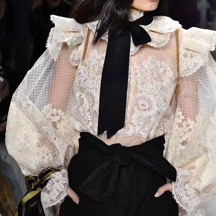 2019 automne nouvelles femmes Blouse chemise à manches longues maille dentelle mode Vintage Blouse Top haute qualité haut pour femme chemises
